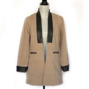 Soft Surroundings Tan Faux Leather Sweater Topper
